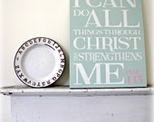 I Can Do All Things Through Christ Who Strengthens Me Typography Wall Decor- Distressed Wood Sign- Christian Bible verse