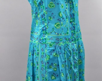 Vintage EMILIO PUCCI Sleeveless Cotton Floral Dropped Waist Dress