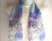 Pretty Silk Pale Blue Purple Floral Vintage Vera Scarf