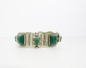 Vintage Bracelet: Alpaca Silver with Carved Green Stones