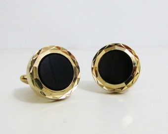 Vintage Cuff Links: Hickok Gold Tone with Onyx