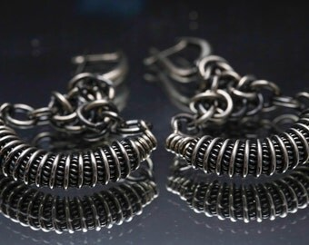 Sterling Silver Chain Maille and Wire Wrap Earring