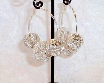 Silver Mesh Ball Earrings, Basketball Wives Style Earrings, Silver Beaded Hoops, Silverplated Hoop Earrings, Wedding Jewelry, Silver Hoops