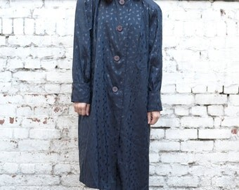 Vintage Avant Garde 1980's Navy Triangle Geometric Print Funnel Neck Trench Coat M/L