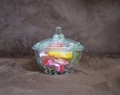 Candy Dish --KIG Indonesia Glass-Vintage Ki11 Clear Glass Swags and Dots Candy Box with Lid 70/80s