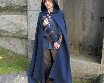 Blue Cloak - Wool Cloak - Half-Circle Cloak  - Hooded Cloak