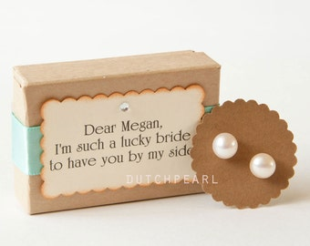4 SETS for Bridesmaids pearl studs in personalized box jewelry - bridesmaids gifts  jewellery favors maid of honor bridesmaid gift