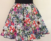 Elastic Gathered Skirt - Bright Spring Floral Size Small