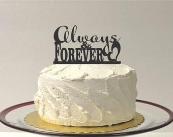 Cute ALWAYS AND FOREVER Wedding Cake Topper Acrylic Wedding Topper Classic Wedding Cake Topper Wedding Decoration Keepsake