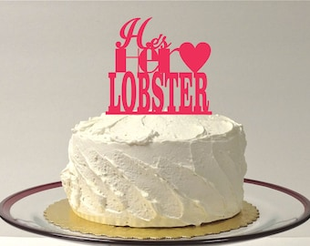 MADE In USA, He's Her Lobster Wedding Cake Topper Cake Decoration Acrylic Wedding Topper Classic Wedding Cake Wedding Decoration Keepsake