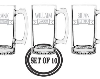 10 GROOMSMAN MUGS ETCHED Beer Mugs Etched Beer Mugs Groomsman Favors Best Man Gift Wedding Party Gift Engraved Beer Mugs Etched Beer Mugs