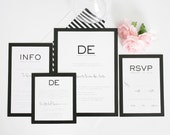 Wedding Invitation - Black and White, Modern, Unique, Bold - Modern Luxe Wedding Invitation by Shine Invitations