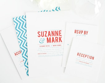 Red and Blue Wedding Invitation, Contemporary, Modern, Teal Blue, Red, Chevron - Contemporary Stack Wedding Invitation - Sample Set