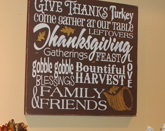 """Thanksgiving Sign/Subway Styler/XXLG Sign/Brown/Gold/Holiday Decor/Wood Sign/Extra large/24""""/Statement Sign"""