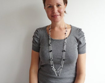 Long chain necklace layered chain necklace minimalist long necklace black beads for women