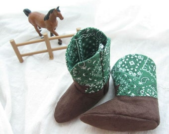 Green Handkerchief Baby Cowboy Boots A Soft Soled Baby Shoe