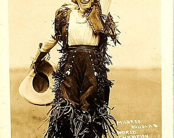 Mildred Douglas Cowgirl Wild West Cowboys 8 1/2 x 11 reproduction image