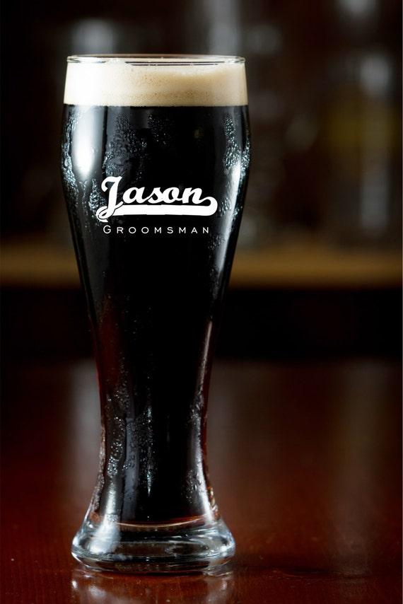 Personalized Pilsner Glass Groomsman Gift Engraved Beer Mug Beer Glass