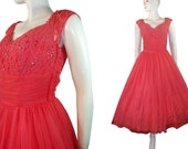 Vintage 1950s Pink PArty Prom Dress, Full Skirt, Lace, Rhinestones, Pearls by Rose Cherubini