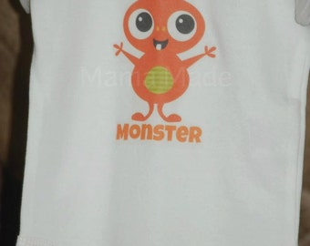 Boy's Orange Little Monster Shirt or Bodysuit,little monster shirt,boys monster shirt, monster birthday shirt,monster party shirt,monster