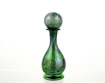Hand Blown Glass Perfume Bottle in Green and Silver