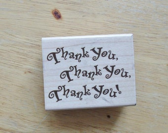 Thank You Thank You Thank You Rubber Stamp by Rubber Stampede 2002