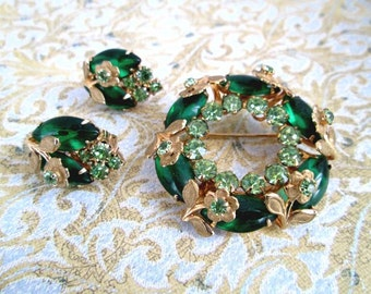Emerald and Lime Green Vintage Demi Parure - Pin Brooch & Clip Earrings