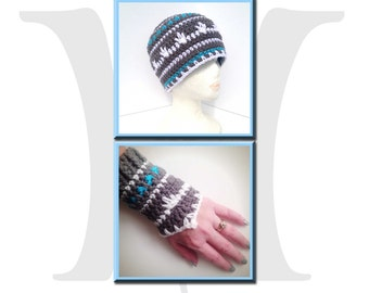 Icy Blast Winter Beanie and Wristers Crochet Pattern Pack - hat and fingerless gloves