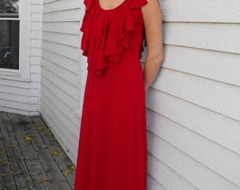 70s Red Maxi Dress Grecian Hippie Long Vintage Gown 1970s XS S