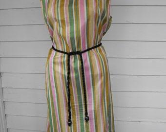 Vintage Striped Dress 60s Sleeveless Gold Green Beige Pink