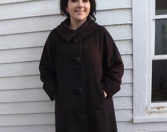 Vintage Brown Lepshire Coat 1950s 1960s Winter L 50s 60s
