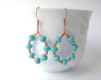 Turquoise Earrings, Copper Hoop, Gemstone Jewelry, Aqua Blue, Chalk Turquoise, Robins Egg, Baby Blue, Hoops, Wire Teardrops, 669
