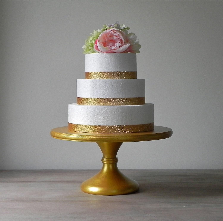 Gold Cake Stand 14 Metallic Wedding Pedestal Rustic