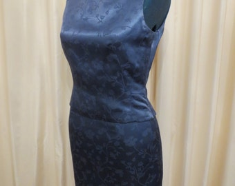 Vintage Michel Rene Greyish Blue Cocktail Top and Skirt Suit Dress
