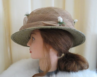 Vintage Floral Straw Sun Hat Casual With Rose Buds