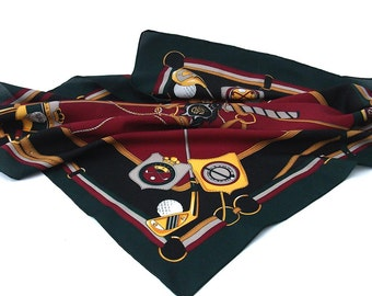 Vintage Golf Scarf - Golfers Scarf - Dark Red, Green, Navy and Gold