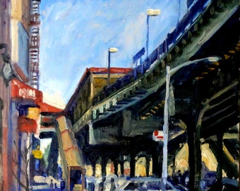 Geometry, 215th St Station, NYC. 14x11 New York Cityscape on Panel, Urban Impressionist Plein Air Fine Art, Signed Original Oil Painting