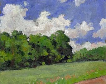 A Field in Summer, Vermont. Realist Oil Painting Landscape, Small 5x7 Plein Air Impressionist Oil on Panel, Signed Original Fine Art