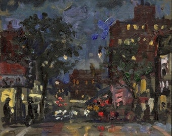 Original New York City Oil Painting, 207th Street Nocturne. Small Oil on Panel, 6x7 NYC Impressionist Plein Air Fine Art, Signed Original