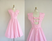 1950s inspired vintage dress / pink and white stripe cotton dress