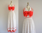 r e s e r v e d...vintage 1960s dress / waffle cotton maxi dress / 60s red bow dress