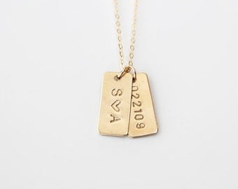 Hand Stamped Necklace - Petite Initial Tags - Tiny Rectangle - 14k GOLD Filled, Sterling Silver or Brass - As Seen In Flutter Mag