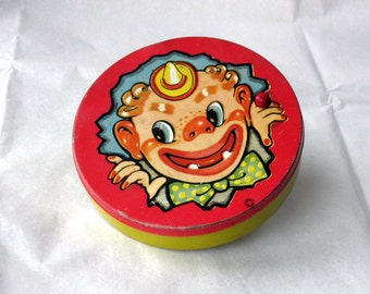 Vintage Clown Noisemaker - T Conn Inc USA - red and yellow - New Year's Eve - Party - Vintage Party Toy - creepy clown - 1940s or 1950s
