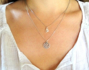 Tiny Sterling Silver Tree of Life Charm Necklace
