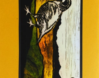 5 California Quail Notecards on Yellow