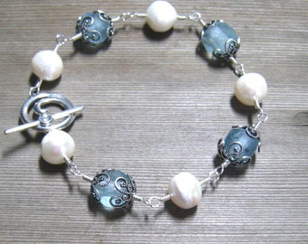 Sea Glass And Pearl Bracelet,  White Freshwater Pearls, Aqua Sea Glass,  Beach Jewelry, Wire Wrapped in Sterling Silver