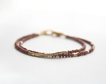 Brown Bracelet, Delicate Bracelet, Beaded Bracelet, Gemstone Jewelry