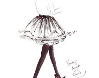 Watercolour Fashion illustration Titled Strolling through Paris