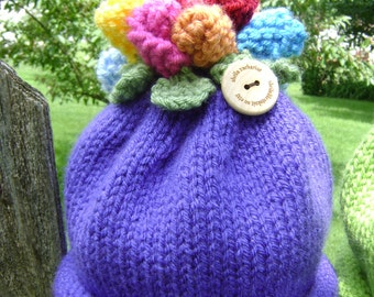 Flower Topped Baby Hat - Size for 6-12 months old