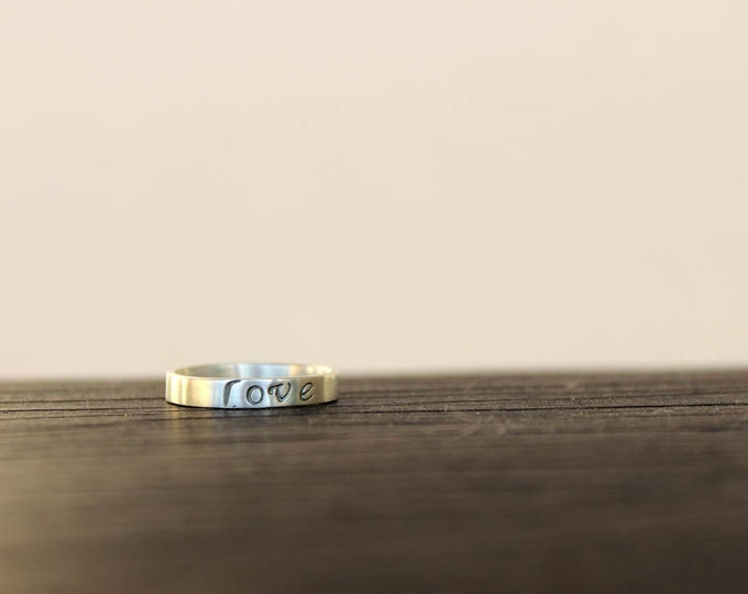 Personalized Stamped Ring - Love or Your Words